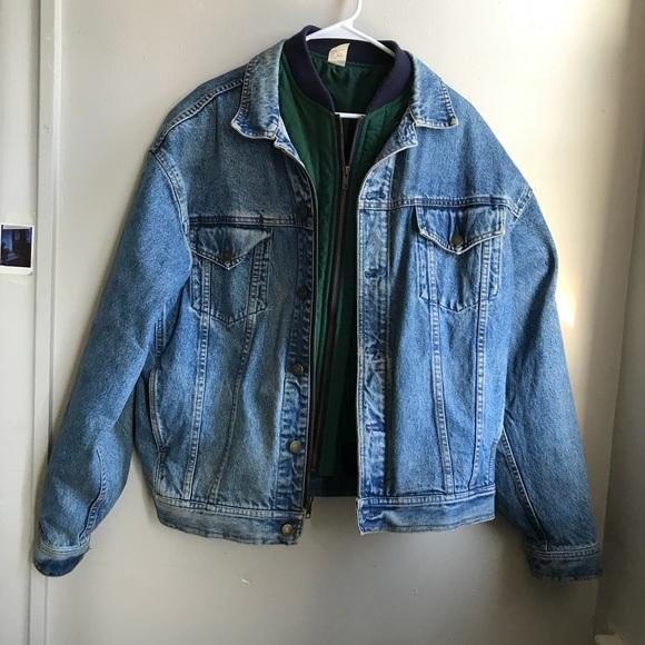 fb04598e8 GAP Vintage Layered Jean Nylon Bomber Jacket